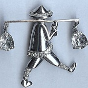 """REDUCED Coro Pegasus sterling """"Chinese Water Carrier"""" Brooch/Pin – Adolph Katz 1940s"""
