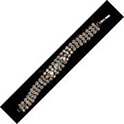 "REDUCED Vintage CORO Aurora Borealis Rhinestone Bracelet 7"" excellent"