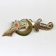 Vintage Sterling Scimitar Sword Pin By Coro Shriners Sword with Crescent Moon and Flower Brooch - 1945 Katz