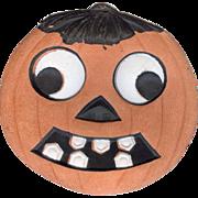 SALE Smaller size Jack O Lantern pumpkin with hair & toothy grin German made die cut ...