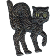 SALE Small - German made Black cat die cut 1920-30's Cute! Scary! Right face!