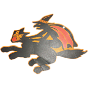 SOLD Witch riding a Black Cat die cut Halloween decoration made by Dennison Company 1928 - Red