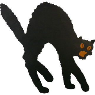 SALE Medium size Arched back Black Cat die cut made by Dennison Company 1920's