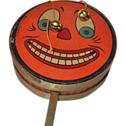 REDUCED Jack O' Lantern Face Halloween Drum Shaker Noisemaker with bells – Germany 1920s