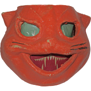 REDUCED Halloween decoration egg crate/pulp Paper Mache Cat face Jack O Lantern Made in the US