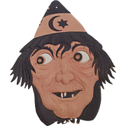 SALE Scary Witch face Halloween decoration painted cardboard die cut German made 1920s