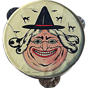 REDUCED Grinning Witch face tin Tambourine Halloween decoration Germany 1930's