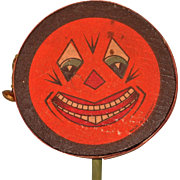 SALE Jack O' Lantern Face Halloween Drum Shaker Noisemaker with bell – Germany 1920s