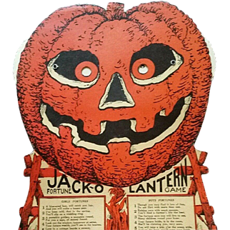 SALE Easel back Jack O Lantern Fortune Game Halloween Decoration Beistle Company 1930's