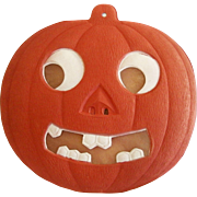 REDUCED Spooky Jack O Lantern with transparency German cardboard die cut Halloween decoration