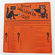 "SALE ""Stunt Halloween Quiz"" Halloween game USA Beistle, HE Luhrs mark"