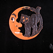 SALE Small - German made Crescent Moon with Black Cat die cut 1920-30s Cute!
