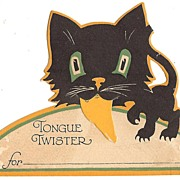 SOLD Cute! Halloween Tongue twister place card Gibson Art Company - USA 1928