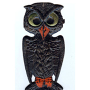 SALE Small - German made Black owl die cut 1920-30s Cute! Scary! Excellent condition