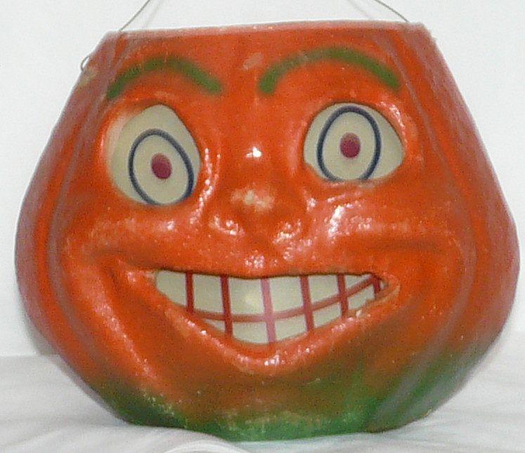"""Vintage Large size Paper mache """"egg crate"""" Smiling Jack O' Lantern pumpkin! 1940 - 1950s"""