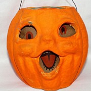 "REDUCED Vintage medium size Paper Mache ""egg crate"" Choir boy Jack O' Lantern pumpkin Ha"