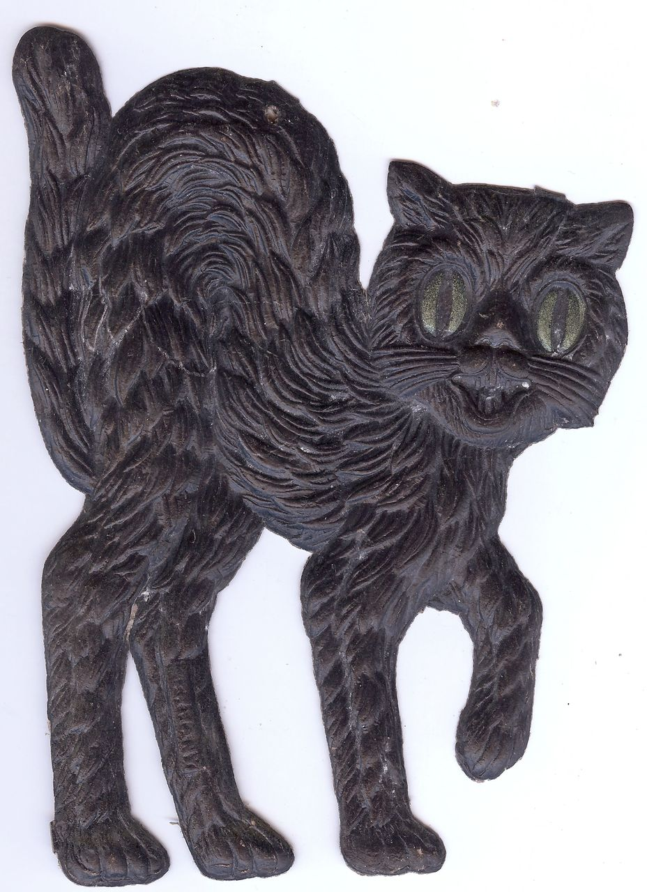 Small - German made Black cat die cut 1920-30s Cute! Scary!