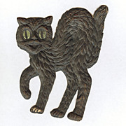 Small - German made Black cat die cut 1920-30s Cute! Scary! Left face!