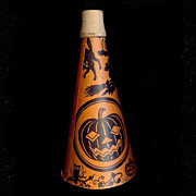REDUCED Halloween noisemaker – Cats Witch JOL paper over cardboard horn with wood tip - USA