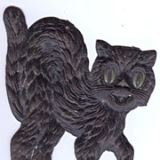 SALE Small - German made Black cat die cut 1920-30s Cute! Scary! Right face!