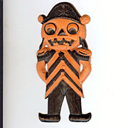 SALE German Die cut – small Pirate Man Jack O' Lantern Halloween decoration 1920's very nice