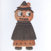 """SOLD German Die cut – small caped """"Witch"""" Jack O' Lantern 1920's"""