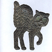 SALE Small - German made Black cat die cut 1920-30s Scary!
