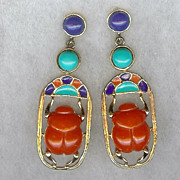 SALE Hattie Carnegie Egyptian revival scarab earrings very nice!
