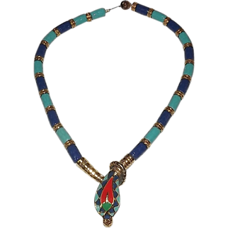 SALE Highly Collectible Hattie Carnegie Egyptian Revival Cobra Snake Necklace! Beautiful -1970's