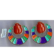 Hattie Carnegie Egyptian Revival Carnelian Scarab with Enameled Pendant Doorknocker Clip Earrings
