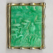 "REDUCED Hattie Carnegie ""Asian Garden"" faux Jade Brooch/Pendant Very Nice!"