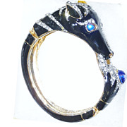 REDUCED Beautiful Vintage Rhinestone and Enamel Designer Horse head Bracelet – Excellent Con
