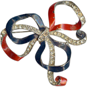 REDUCED Red White & Blue Patriotic bow brooch designed by Joseph Wuyts/Alfred Philippe – Tri