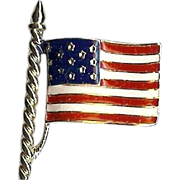 SALE Patriotic red white and blue enameled US Flag pin by the Trifari Company