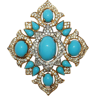 SALE Magnificent Jewels of India Crown Trifari Brooch Designer Alfred Philippe Rare! – Jewels of India Series 1965