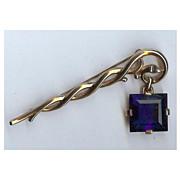 Trifari 'Alfred Philippe' Sapphire Pendant from Staff Pin