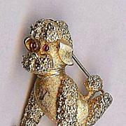 Trifari Small size sitting Poodle breed Dog gold tone brooch Cute!
