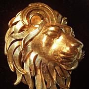 Trifari Golden Lion head brooch excellent!