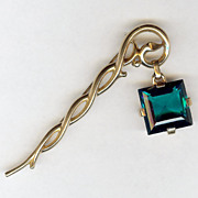 Trifari 'Alfred Philippe' faux Emerald Pendant from Staff Pin 1950 - Excellent!