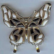 SALE Trifari 'Alfred Philippe' 'Modern Mosaics' Poured Glass Black & White Butterfly Brooch -