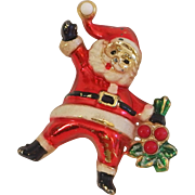 REDUCED Vintage Beatrix Holiday Enameled Santa Claus pin for Christmas!