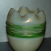 SALE Elegant Opalescent Egg Shaped Vase w/ Green Threading
