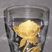 Tiffin 17350 Teardrop vase with gold encrusted Flower
