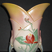 Hull Magnolia Matte Vase with Special Decoration