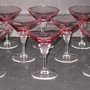 SOLD Tiffin Wisteria and Crystal #17501 Saucer Champagne glasses, set of 8