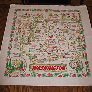 Vintage Washington State Map Cloth
