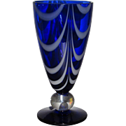 SOLD Tiffin #17350 Cobalt Teardrop vase with Opal Loops