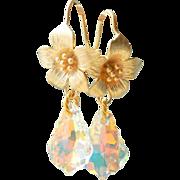 SOLD Swarovski Crystal  Baroque Teardrop Flower Earrings