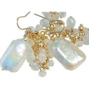 SOLD Moonstone and Baroque Pearl White Drop Earrings