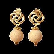 SOLD Pink Coral Post Drop Earrings